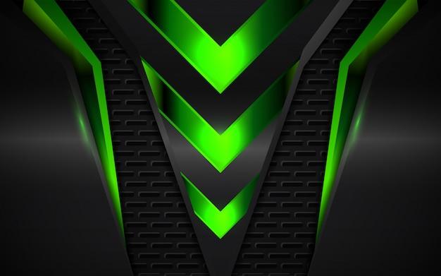 Fundo abstrato verde formas metálicas