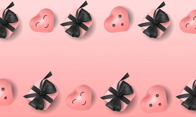 Fundo adorável com ilustração de coração e giftbox no fundo rosa 3d