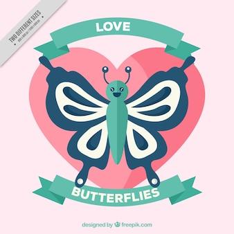 Fundo agradável borboleta com um coração no design plano