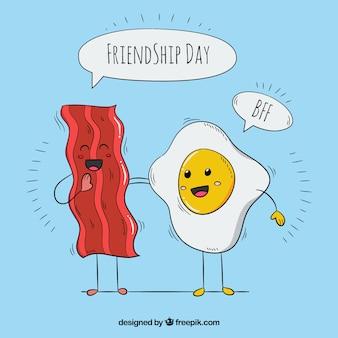 Fundo agradável com ovo e bacon fritos