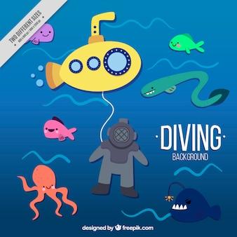 Fundo agradável mergulho com um submarino amarelo