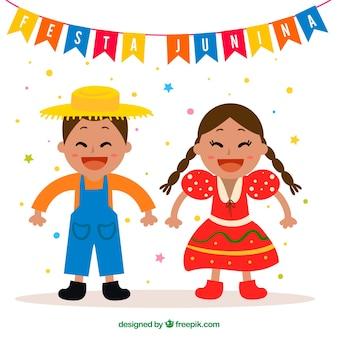 Fundo, agradável, par, celebrando, festa, junina