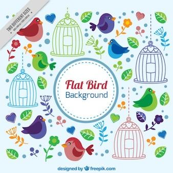 Fundo alegre com pássaros e folhas