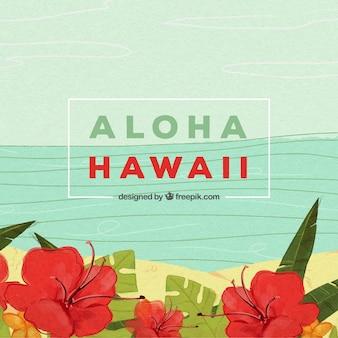 Fundo aloha com design de praia