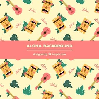Fundo aloha com elementos bonitos de havaí