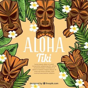 Fundo aloha com máscaras tiki e folhas de palmeira