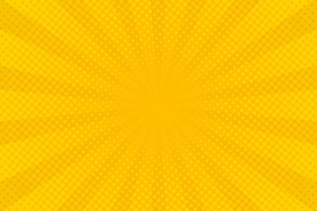 Fundo amarelo abstrato com zoom em quadrinhos de meio-tom