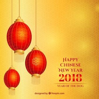 Fundo amarelo ano novo chinês com lanternas Vetor grátis