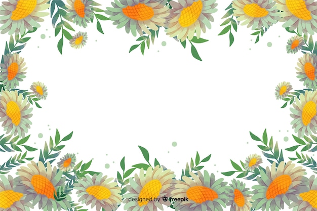 Fundo amarelo aquarela moldura floral