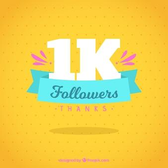 Fundo amarelo bonito de mil seguidores