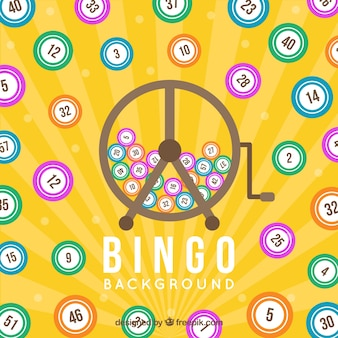 Fundo amarelo com bolas de bingo