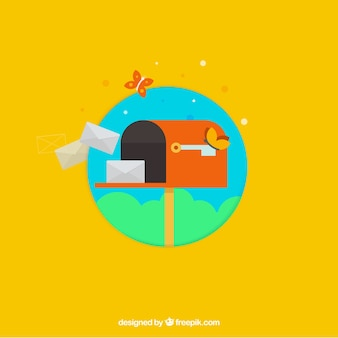 Fundo amarelo com caixa de correio e envelopes no design plano