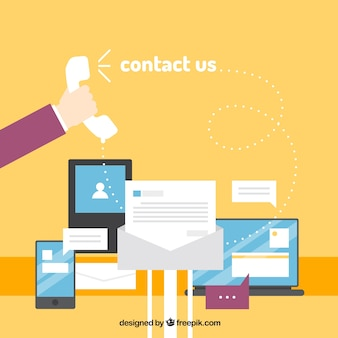 Fundo amarelo com dispositivos e elementos de contacto