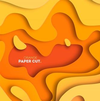 Fundo amarelo com formas de corte de papel. ilustração. arte 3d de escultura abstrata.