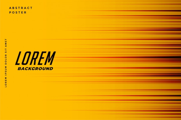 Fundo amarelo com linhas de velocidade de movimento