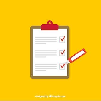 Fundo amarelo com lista de verificação e marcador