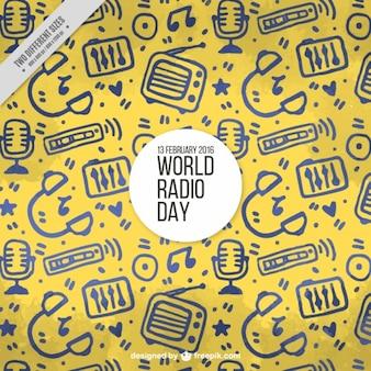 Fundo amarelo com objetos desenhados à mão para o dia de rádio mundo