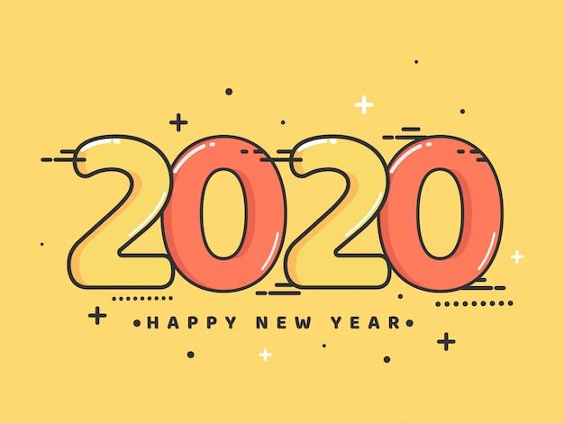 Fundo amarelo com texto 2020 para comemoração de feliz ano novo.