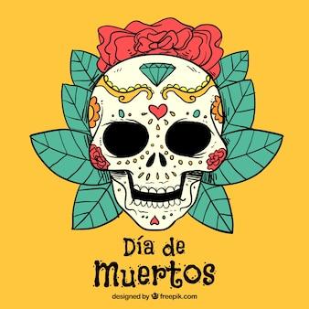Fundo amarelo com um crânio mexicano