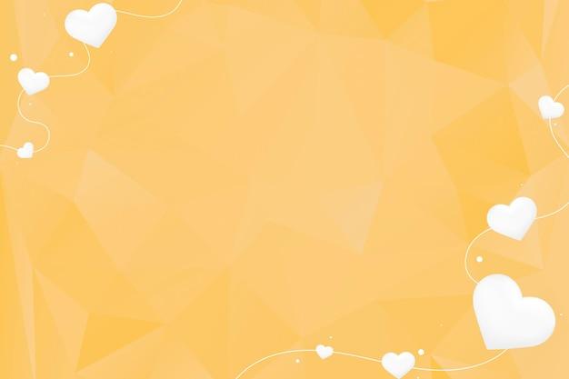 Fundo amarelo da borda da corda do coração