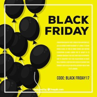 Fundo amarelo de balões negros de sexta-feira preta