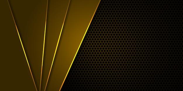 Fundo amarelo de fibra de carbono hexágono com linhas luminosas amarelas e destaques.