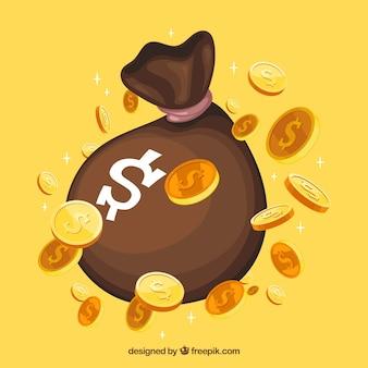 Fundo amarelo de saco com dinheiro