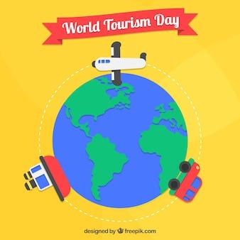 Fundo amarelo do dia mundial do turismo com o transporte