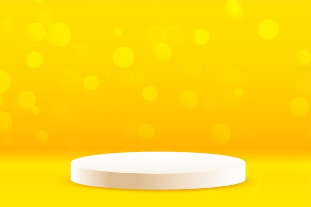 Fundo amarelo do estúdio com pódio para exposição do produto