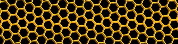 Fundo amarelo do favo de mel. padrão sem emenda de favo de mel. fundo geométrico de hexágonos. ilustração vetorial