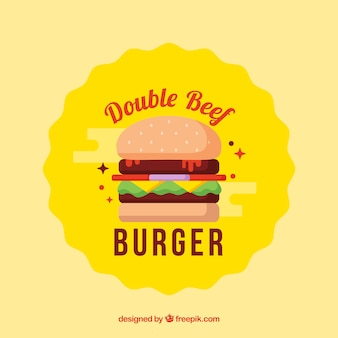Fundo amarelo do hamburger com bife dobro