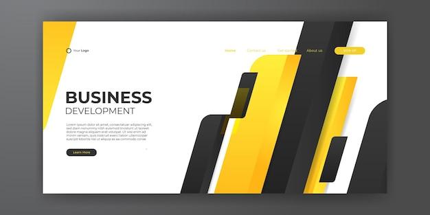 Fundo amarelo preto abstrato para o modelo da web da página de destino. molde moderno do design abstrato. composição de gradiente dinâmico para capas, brochuras, folhetos, apresentações, banners. ilustração vetorial