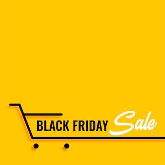 Fundo amarelo preto do carrinho de compras em promoção na sexta-feira
