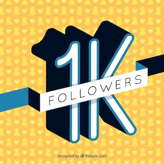 Fundo amarelo retro de 1k seguidores