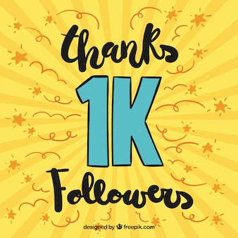 Fundo amarelo segurando seguidores de 1k