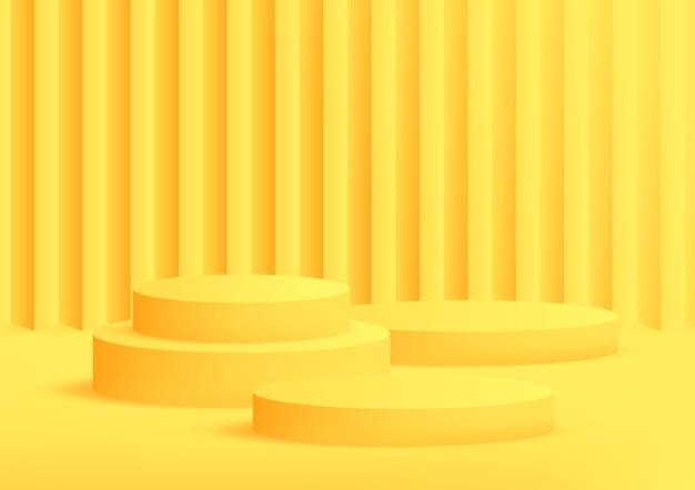 Fundo amarelo vazio do estúdio do pódio para exposição do produto com espaço de cópia.