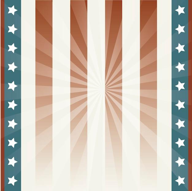 Fundo americano com estrelas e ilustração vetorial de bandeira