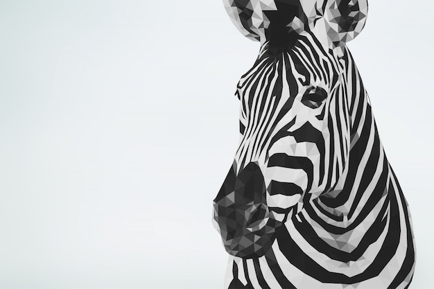 Fundo animal poligonal zebra geométrica