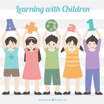 Fundo aprendendo com crianças segurando objetos diferentes