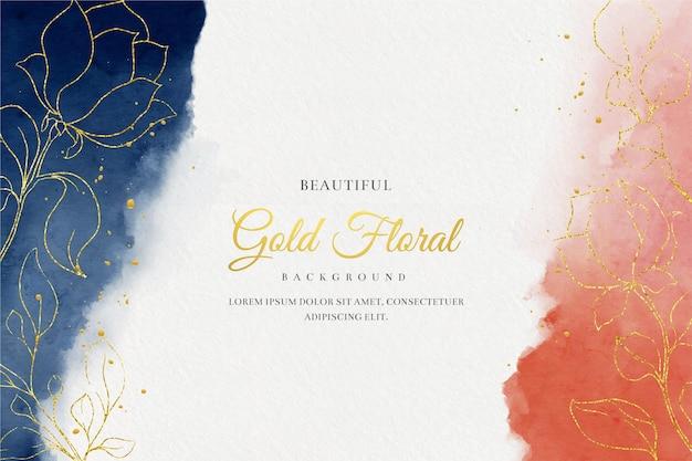 Fundo aquarela bonito com flores douradas