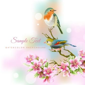 Fundo aquarela bonito e elegante com flor de cerejeira desenhada à mão