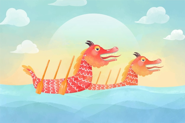 Fundo aquarela com barco dragão