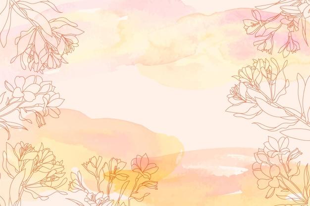 Fundo aquarela com elementos florais desenhados à mão