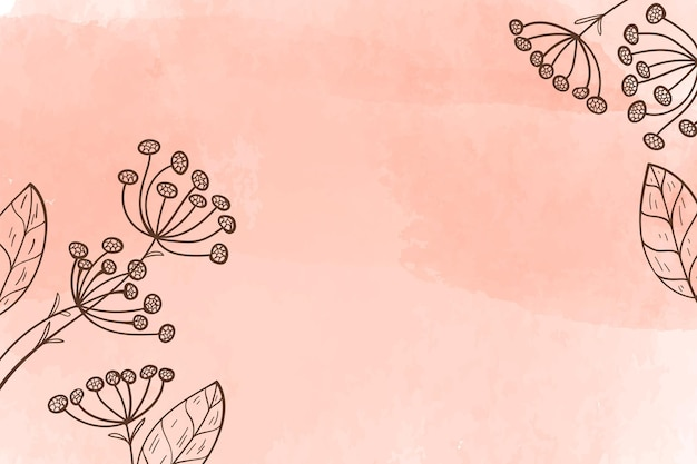 Fundo aquarela com flores desenhadas à mão