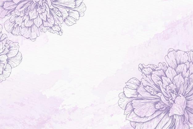 Fundo aquarela com flores desenhadas