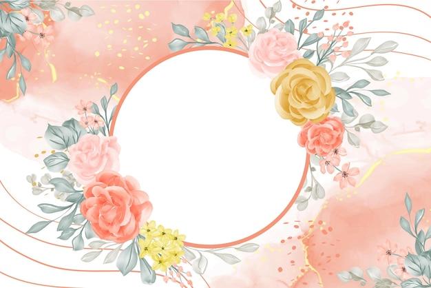 Fundo aquarela com flores e folhas