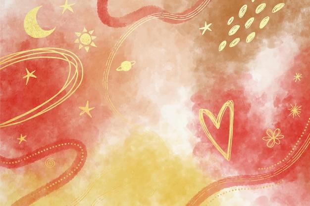 Fundo aquarela com folha dourada