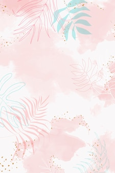 Fundo aquarela com folhas rosa