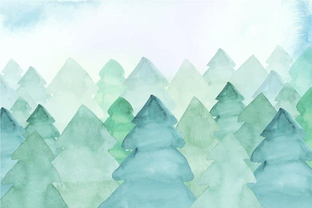 Fundo aquarela com pinheiros