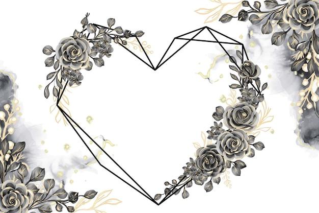 Fundo aquarela com rosa ouro preto e folhas com forma de geometria amorosa